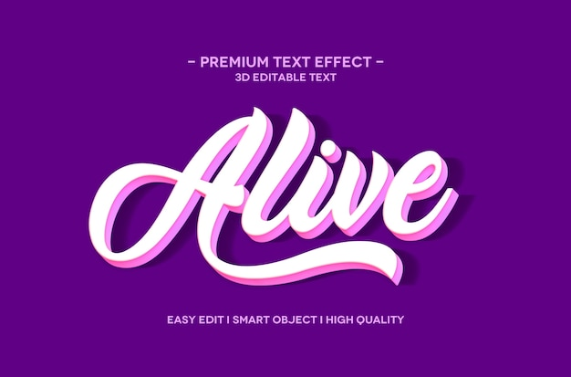 Alive 3d text style effect template