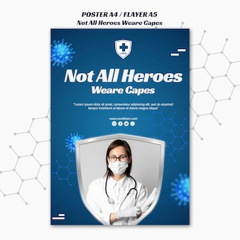 Not all heroes wear capes flyer template with photo
