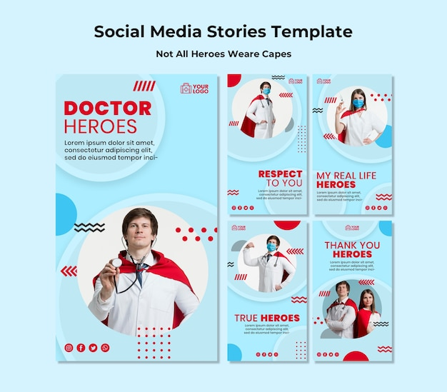 Not all heroes wear capes social media stories template