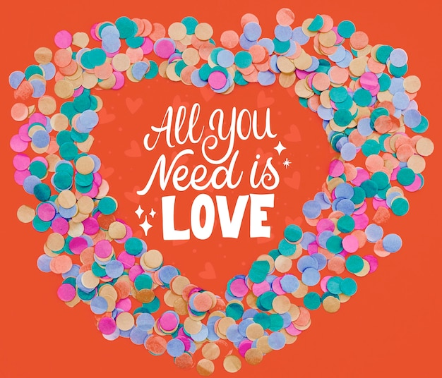 All you need is love text confetti frame shape
