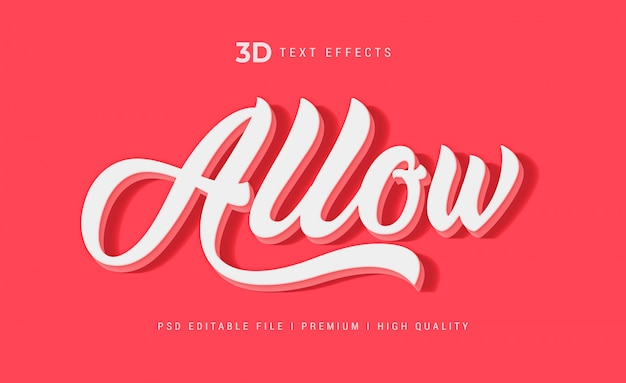 Allow 3d text style effect template