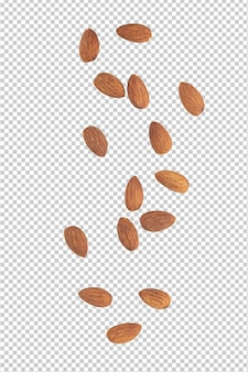 Almonds falling isolated
