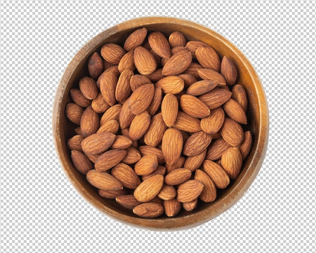 Almonds in wooden bowl isolated