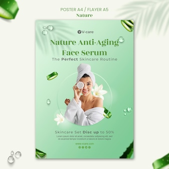 Aloe vera natural cosmetics poster and flyer template design