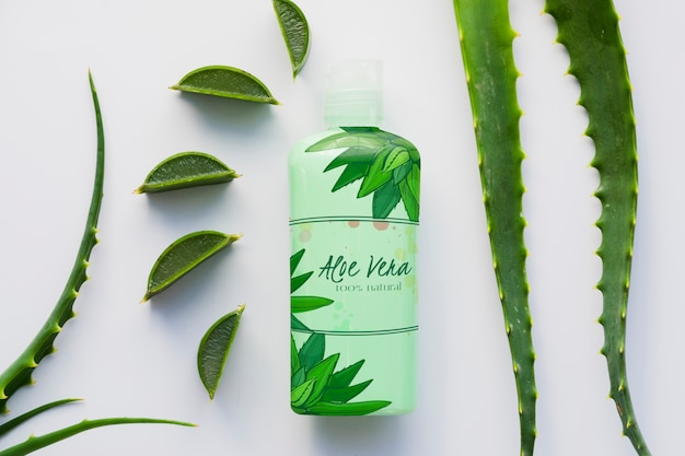 Aloe vera packaging bottle mock-up