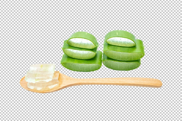 Aloe vera sliced on isolated transparency .herb