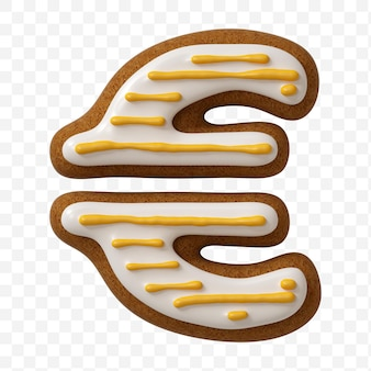 分離された色のジンジャーブレッドクッキーで作られたアルファベットのユーロ記号