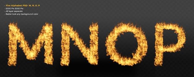 Alphabet fire flames text effect
