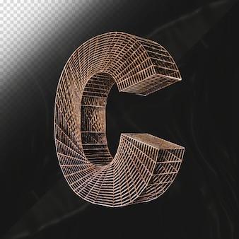 노란색 셀룰러 프레임워크 3d 렌더링으로 만든 알파벳 문자 c 대문자 골드 글꼴