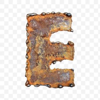 용접 녹슨 금속 시트 절연 pds 파일로 만든 알파벳 문자 e