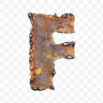 용접 녹슨 금속 시트 격리 pds 파일로 만든 알파벳 문자 f