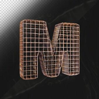 현실적인 질감 3d 렌더링으로 만들어진 알파벳 문자 m 대문자 금속 와이어 프레임 글꼴