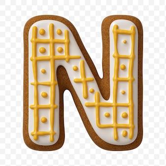 分離された色のジンジャーブレッドクッキーで作られたアルファベット文字n