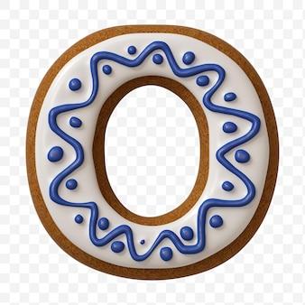 分離されたカラージンジャーブレッドクッキーで作られたアルファベット文字o
