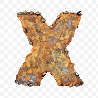 용접 녹슨 금속 시트 격리 pds 파일로 만든 알파벳 문자 x