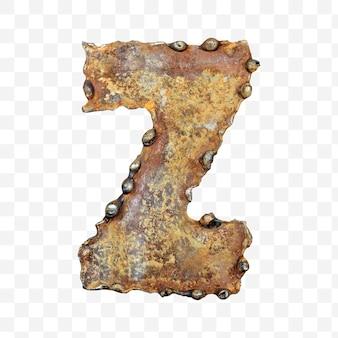 용접 녹슨 금속 시트 절연 pds 파일로 만든 알파벳 문자 z