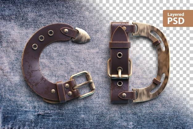 Алфавит из винтажного кожаного ремня