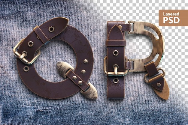 Alphabet made of vintage leather belt
