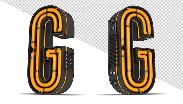 Алфавит неоновый свет 3d-рендеринга