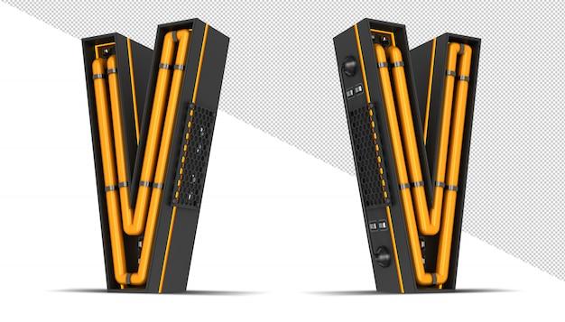 Alphabet neon light 3d rendering