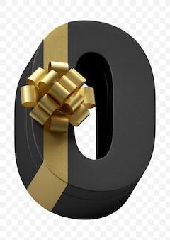 豪華な金色の弓で隔離されたpsdファイルと濃い黒の紙に包まれたアルファベット番号0ギフト