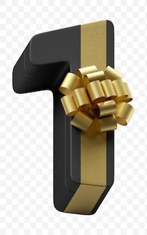 豪華な金色の弓で隔離されたpsdファイルと濃い黒の紙に包まれたアルファベット番号1のギフト