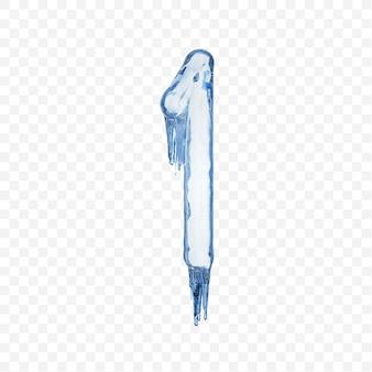 Alphabet number 1 made of blue melting ice isolated on transparent background