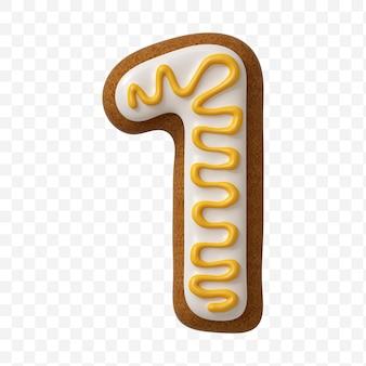 分離されたカラージンジャーブレッドクッキーで作られたアルファベット番号1