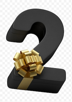 豪華な金色の弓で隔離されたpsdファイルと濃い黒の紙に包まれたアルファベット番号2ギフト