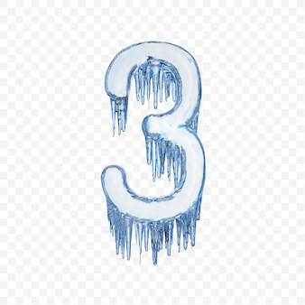 Alphabet number 3 made of blue melting ice isolated on transparent background