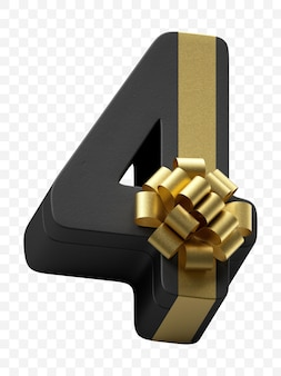 豪華な金色の弓で隔離されたpsdファイルと濃い黒の紙に包まれたアルファベット番号4ギフト