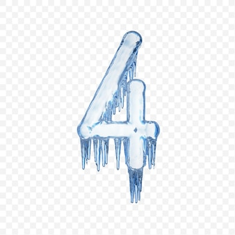 Alphabet number 4 made of blue melting ice isolated on transparent background