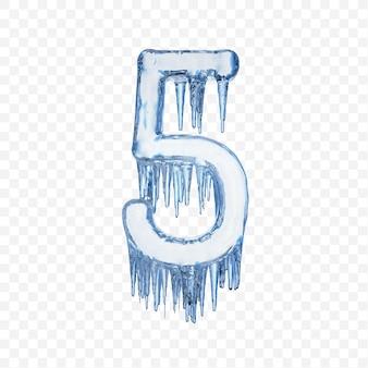 Alphabet number 5 made of blue melting ice isolated on transparent background