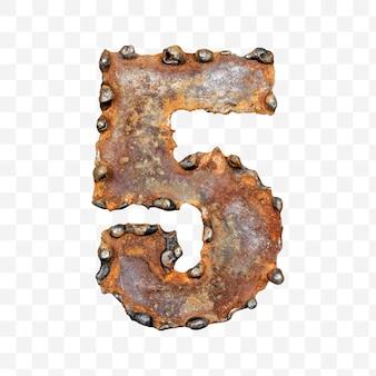 용접 녹슨 금속 시트 격리 pds 파일로 만든 알파벳 번호 5