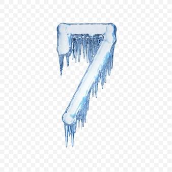 Alphabet number 7 made of blue melting ice isolated on transparent background