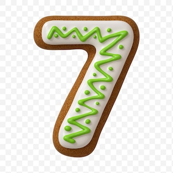 分離されたカラージンジャーブレッドクッキーで作られたアルファベット番号7