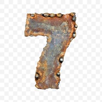 용접 녹슨 금속 시트 격리 pds 파일로 만든 알파벳 번호 7