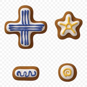 分離された色のジンジャーブレッドクッキーで作られたアルファベット記号