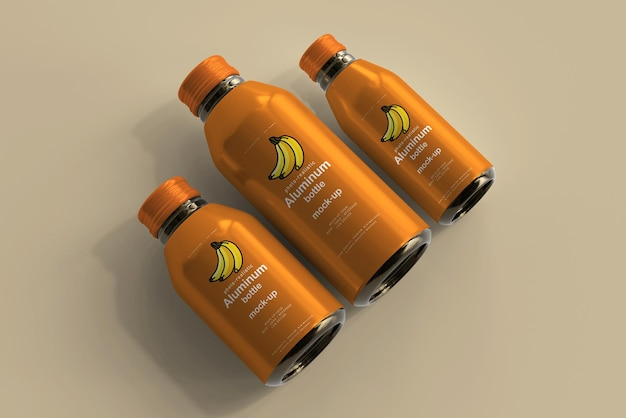 Aluminum beverage bottle mockup