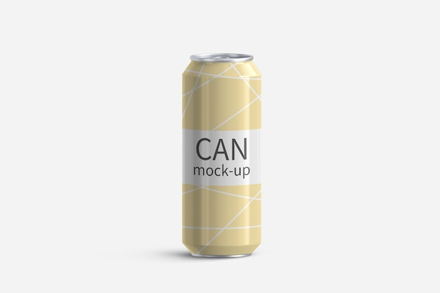 Aluminum can on white background 3d render mockup