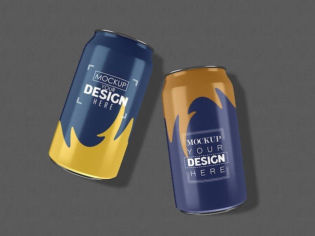 Aluminum, metal can package mockup for branding and identity.