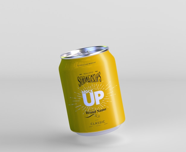 Aluminum mini soda can mockup