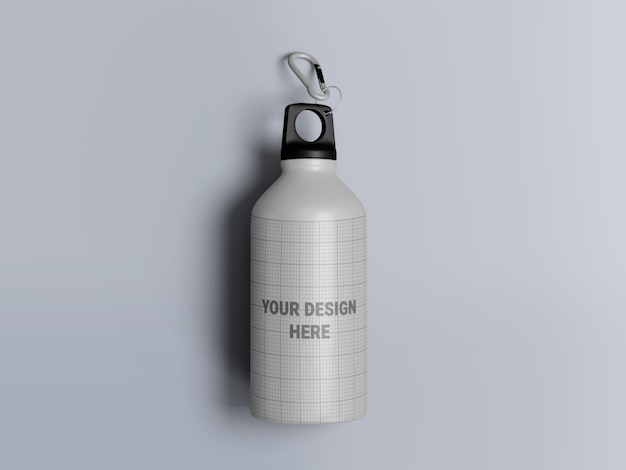 Aluminum water bottle mockup isolated