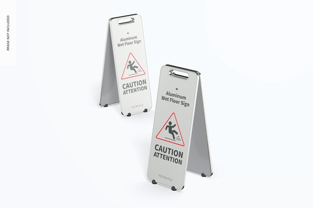 Алюминиевые знаки для мокрого пола, макет, перспектива