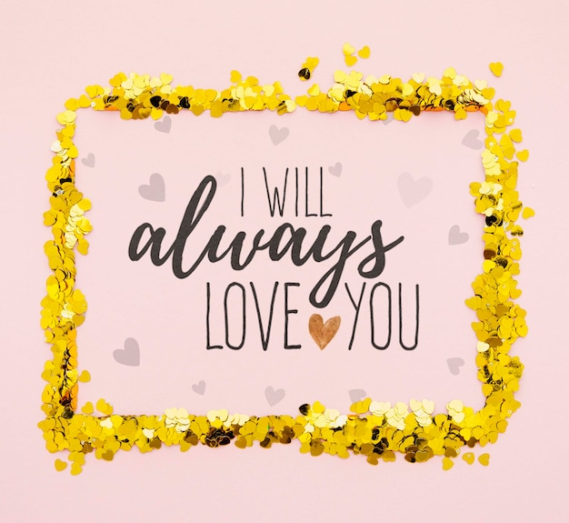 Always love you with golden confetti frame