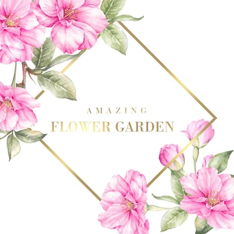 사쿠라 꽃과 꽃 정원 카드를 놀라게합니다.