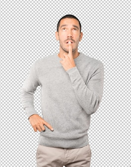 Amazed young man looking gesture