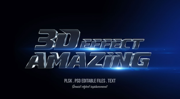 Amazing 3d text style effect mockup with lights