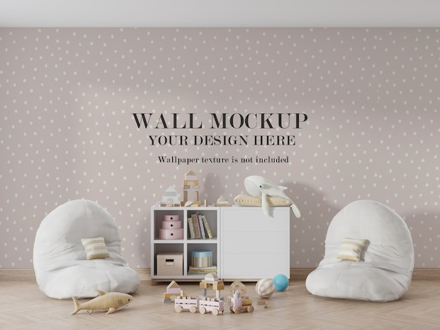Amazing child room wall mockup with accessories