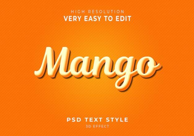 素晴らしいマンゴー3dテキストスタイル